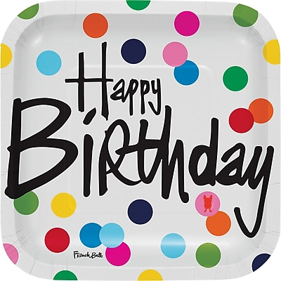 Creative Converting Birthday Dots Paper Dessert Plate (Set of 10)