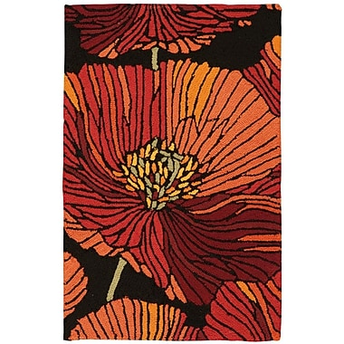 Ebern Designs Atalanta Hand-Hooked Black/Red Area Rug; Rectangle 1'9'' x 2'9''