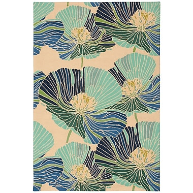 Ebern Designs Athema Hand-Hooked Blue/Green/Beige Area Rug; Rectangle 1'9'' x 2'9''