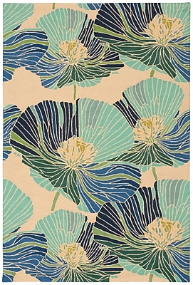 Ebern Designs Athema Hand-Hooked Blue/Green/Beige Area Rug; Rectangle 5' x 7'6''