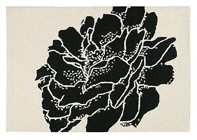 Ebern Designs Bacchus Botanical Wool Black Area Rug