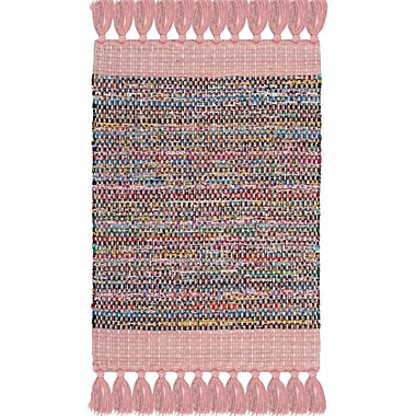 Harriet Bee Abner Hand-Woven Pink/Gray Area Rug; Rectangle 3' x 5'