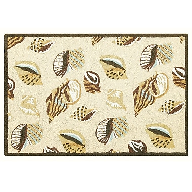 Highland Dunes Briana Gold Coast Shells Wool Tan Area Rug