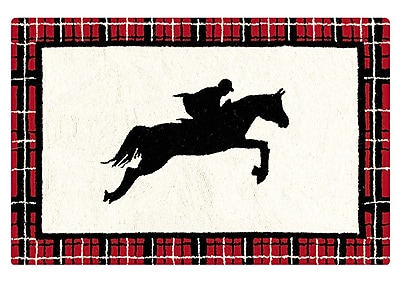 Loon Peak Germania Equestrian Wool Black Area Rug