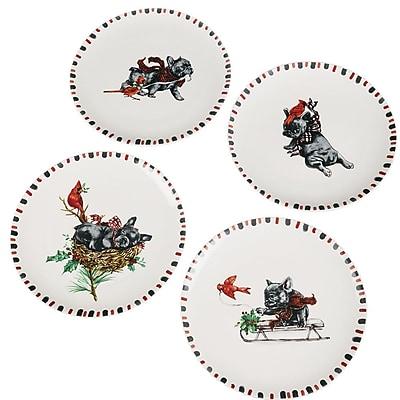 The Holiday Aisle 4 Piece Dog Cardinal Decorative Plate Set