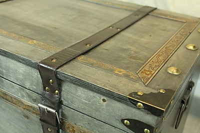 Williston Forge Lorenza Rustic Large Wooden Storage Trunk