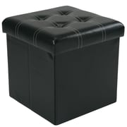 Winston Porter Hixson Accented Stitch Design Collapsible Storage Ottoman