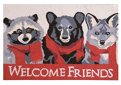 The Holiday Aisle Welcome Friends Lodge Wool Red Area Rug