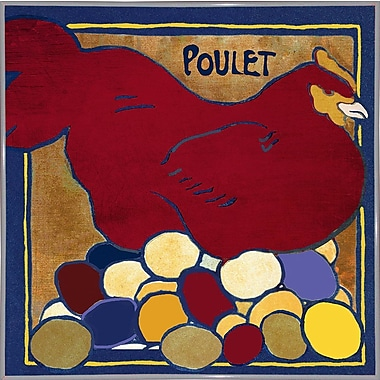 August Grove 'Poulets II' Graphic Art Print; Metal White Framed