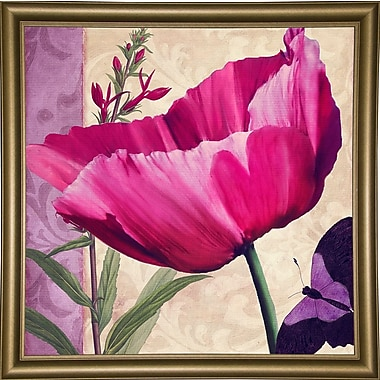 August Grove 'Pink Poppy I' Graphic Art Print; Canvas Maple Floater Framed