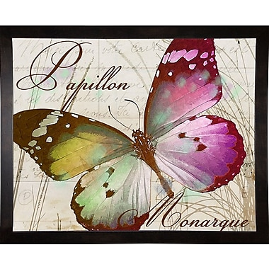 August Grove 'Papillon II' Graphic Art Print; Cafe Espresso Framed