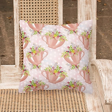 August Grove Coralle Tea Cup and Flowers Outdoor Throw Pillow