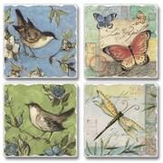 August Grove Nature Walk Birds, Butterflies and Dragonflies Stone Coaster (Set of 4)