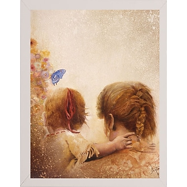 August Grove 'The Blue Butterfly' Framed Graphic Art Print; White Medium Framed