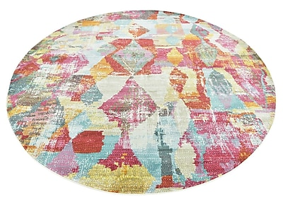 Bungalow Rose Yearsley Red/Beige/Blue Area Rug; Round 8'2'' x 8'2''