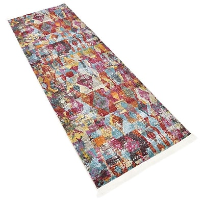 Bungalow Rose Yearsley Red/Beige/Blue Area Rug; Runner 2'2'' x 6'
