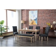 Bungalow Rose Kenleigh 6 Piece Dining Set; Charcoal