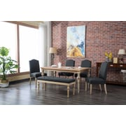 Bungalow Rose Tessio 6 Piece Dining Set; Charcoal