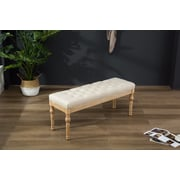 Bungalow Rose Brockwell Button Tufted Wood Bench; Tan