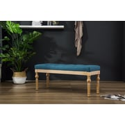Bungalow Rose Brockwell Button Tufted Wood Bench; Blue