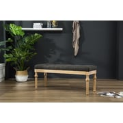 Bungalow Rose Brockwell Button Tufted Wood Bench; Charcoal