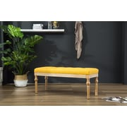 Bungalow Rose Brockwell Button Tufted Wood Bench; Yellow