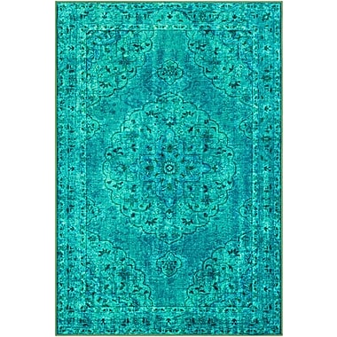 Bungalow Rose Ryhill Floral Emerald/Dark Green Area Rug; Rectangle 5'3'' x 7'3''