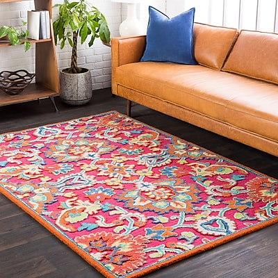 Bungalow Rose Withams Floral Hand Tufted Wool Bright Pink/Coral Area Rug; Rectangle 8' x 10'