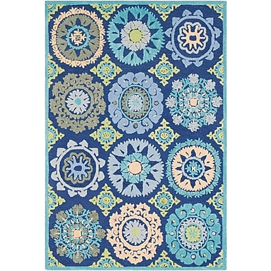 Bungalow Rose Withams Floral Hand Tufted Wool Dark Blue/Light Gray Area Rug; Rectangle 5' x 7'6''