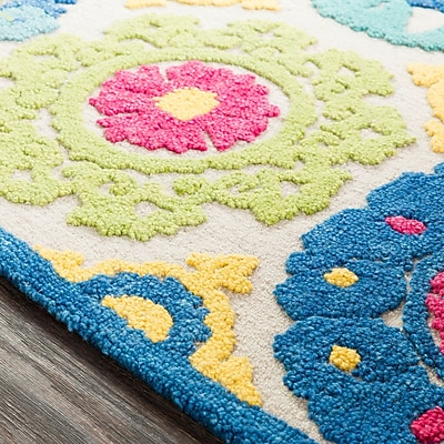 Bungalow Rose Withams Floral Hand Tufted Wool Aqua/Bright Blue Area Rug; Rectangle 2' x 3'