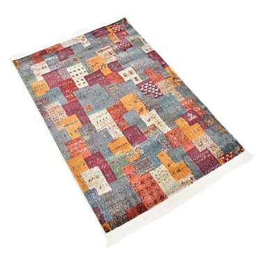 Bloomsbury Market Rolling Hills Estates Rustic Yellow/Red/Blue Area Rug; Rectangle 2'2'' x 3'