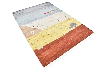 Bloomsbury Market Rolling Hills Estates Gray/Yellow/Red Area Rug; Rectangle 4'3'' x 6'