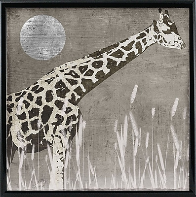 Bloomsbury Market 'Moon Giraffe' Graphic Art Print; Wrapped Canvas Floater Framed