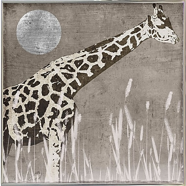 Bloomsbury Market 'Moon Giraffe' Graphic Art Print; Metal Silver Framed