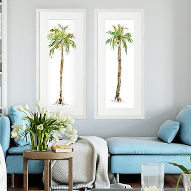 Bay Isle Home 'Washed Palm' 2 Piece Framed Acrylic Painting Print Set