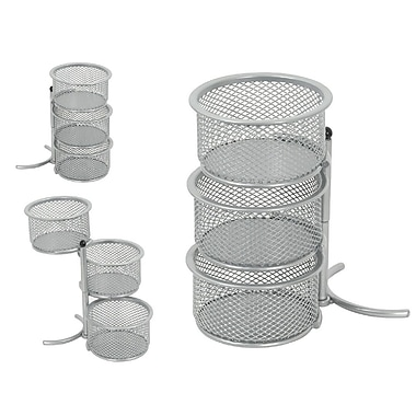 Staples® Mesh 3 Tier Swivel Tower, Silver (HON12640-CA)