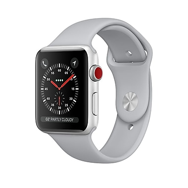 Apple Watch Series 3, 42mm, GPS + Cellular, Silver Aluminum Case with Fog Sport Band, (MQK12CL/A)