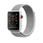 Apple Watch Series 3, GPS + Cellular, Silver Aluminum Case with Seashell Sport Loop