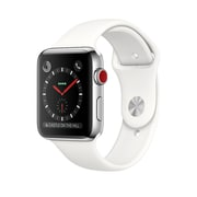 Apple Watch Series 3, 42mm, GPS + Cellular, Stainless Steel Case with Soft White Sport Band, (MQK82CL/A)