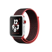 Apple Watch Nike+ 38mm, GPS + Cellular, Silver Aluminium Case with Bright Crimson/Black Nike Sport Loop, (MQL72CL/A)