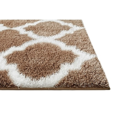 Charlton Home Aranson Humble Moroccan Lattice Shag Taupe Area Rug; Rectangle 6'7'' x 9'3''