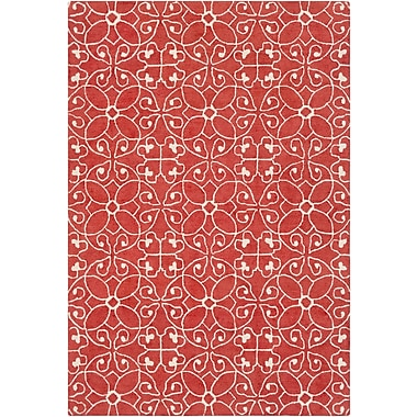 Charlton Home Arison Medallions and Damask Hand Hooked Wool Rust Area Rug; Rectangle 5' x 7'6''