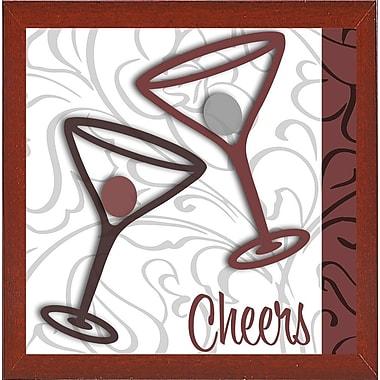 Ebern Designs 'Cheers II' Graphic Art Print; Red Mahogany Medium Framed
