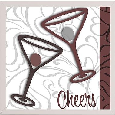 Ebern Designs 'Cheers II' Graphic Art Print; White Medium Framed