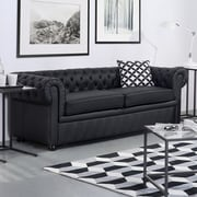 Darby Home Co Wardingham Leather Chesterfield Sofa; Black