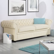 Darby Home Co Wardingham Leather Chesterfield Sofa; Beige