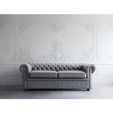 Darby Home Co Wardingham Leather Chesterfield Sofa; Stone Gray