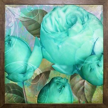 Ebern Designs 'Aqua Rose II' Graphic Art Print; Cafe Mocha Framed