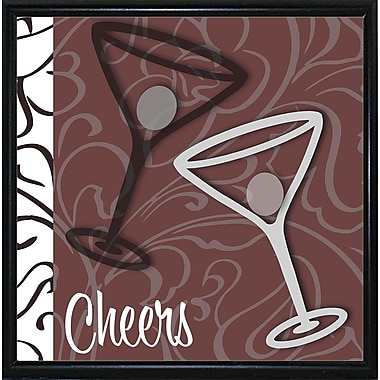 Ebern Designs 'Cheers I' Graphic Art Print; Metal Flat Black Framed