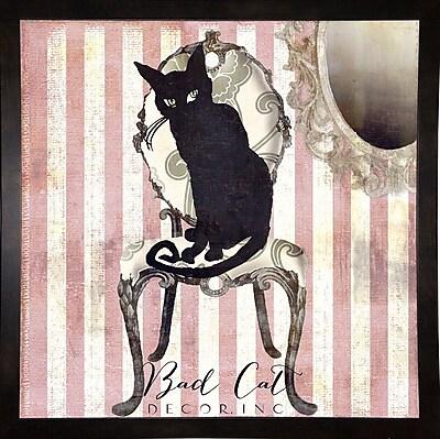 Ebern Designs 'Bad Cat I' Graphic Art Print; Black Medium Framed